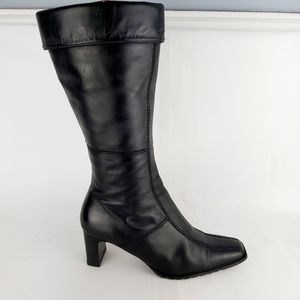 Heeled genuine leather winter boots side zip